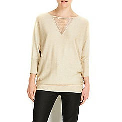 Wallis - Gold bead mesh tunic jumper