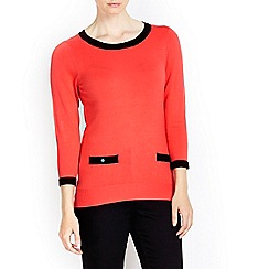 Wallis - Coral tipped pocket jumper