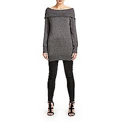 Wallis - Dark grey metallic bardot tunic jumper