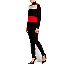 Wallis - Striped block polo neck jumper