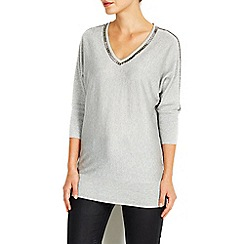 Wallis - Silver v-neck trim sparkle jumper