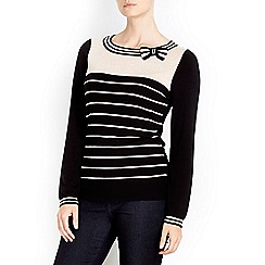 Wallis - Stripe bow block jumper