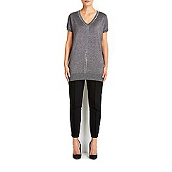 Wallis - Dark grey v-neck embellished tunic jumper
