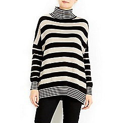Wallis - Striped polo zip hem jumper