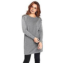 Wallis - Grey embellished shoulder dress