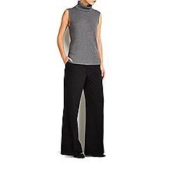 Wallis - Grey sleeveless metallic rib jumper