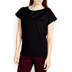 Wallis - Black short sleeve shimmer top