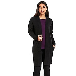 Wallis - Black rib panel compact cardigan