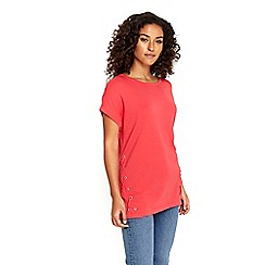 Wallis - Coral lace up hem top