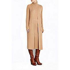 Wallis - Camel rib longline cardigan