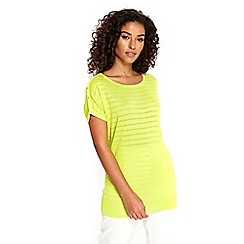 Wallis - Lime striped knitted top