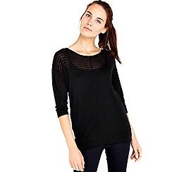 Wallis - Black 3/4 sleeve knitted top