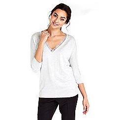 Wallis - Grey lace v-neck jumper