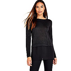 Wallis - Black metallic layered jumper