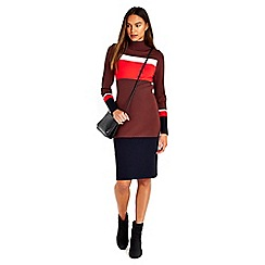 Wallis - Brown knitted colour block dress