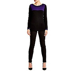 Wallis - Black and purple block bow jumper