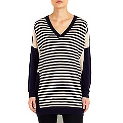 Wallis - Navy striped panel v-neck jumper