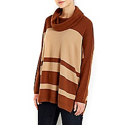 Wallis - Camel block cowl neck jumper