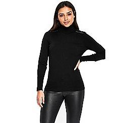 Wallis - Black studded shoulder polo neck jumper
