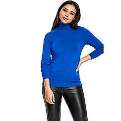 Wallis - Blue studded shoulder polo neck jumper