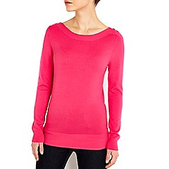 Wallis - Pink button slash neck jumper