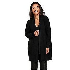 Wallis - Black faux wool rib cardigan