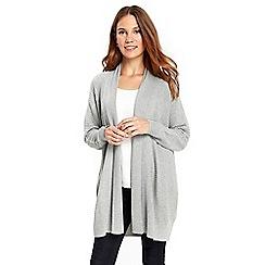 Wallis - Grey faux wool rib cardigan