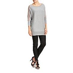 Wallis - Silver lace batwing tunic jumper
