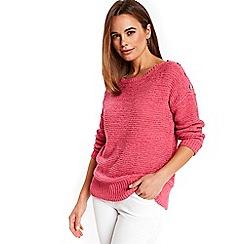 Wallis - Pink button shoulder jumper