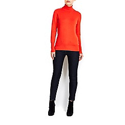 Wallis - Orange zip shoulder polo neck jumper