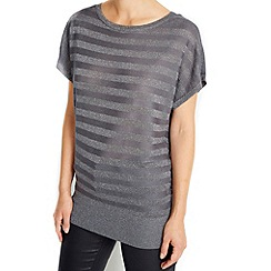 Wallis - Charcoal metallic stripe jumper