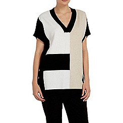 Wallis - Stone short sleeve colour block jumper