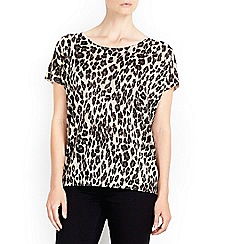 Wallis - Gold v-back leopard jumper