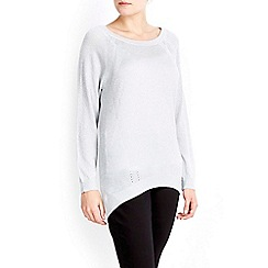 Wallis - Silver metallic pointelle jumper