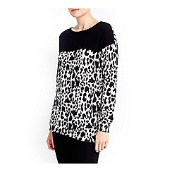 Wallis - Leopard colour block jumper