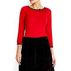 Wallis - Red tipped bow detail jumper