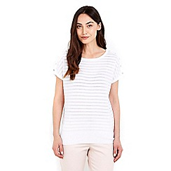 Wallis - White thick and thin button top