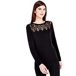 Wallis - Black lace detail jumper