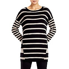 Wallis - Black and stone stripe tunic