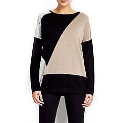 Wallis - Neutral colour block jumper