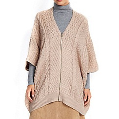 Wallis - Camel cable zip hem cape
