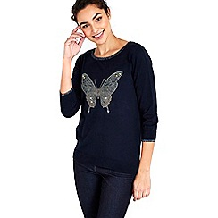 Wallis - Navy butterfly hotfix jumper