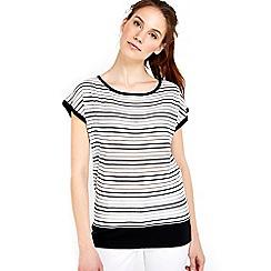 Wallis - Monochrome stripe metallic top