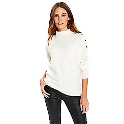 Wallis - Ivory eyelet shoulder jumper