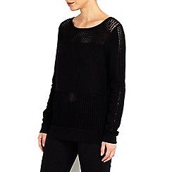 Wallis - Black panel sweater