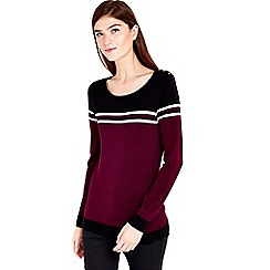 Wallis - Wine striped knitted top