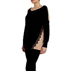 Wallis - Black lace detail jumper