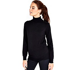 Wallis - Black plain polo neck jumper