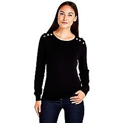 Wallis - Black button detail knit top