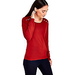 Wallis - Rust button detail knit top